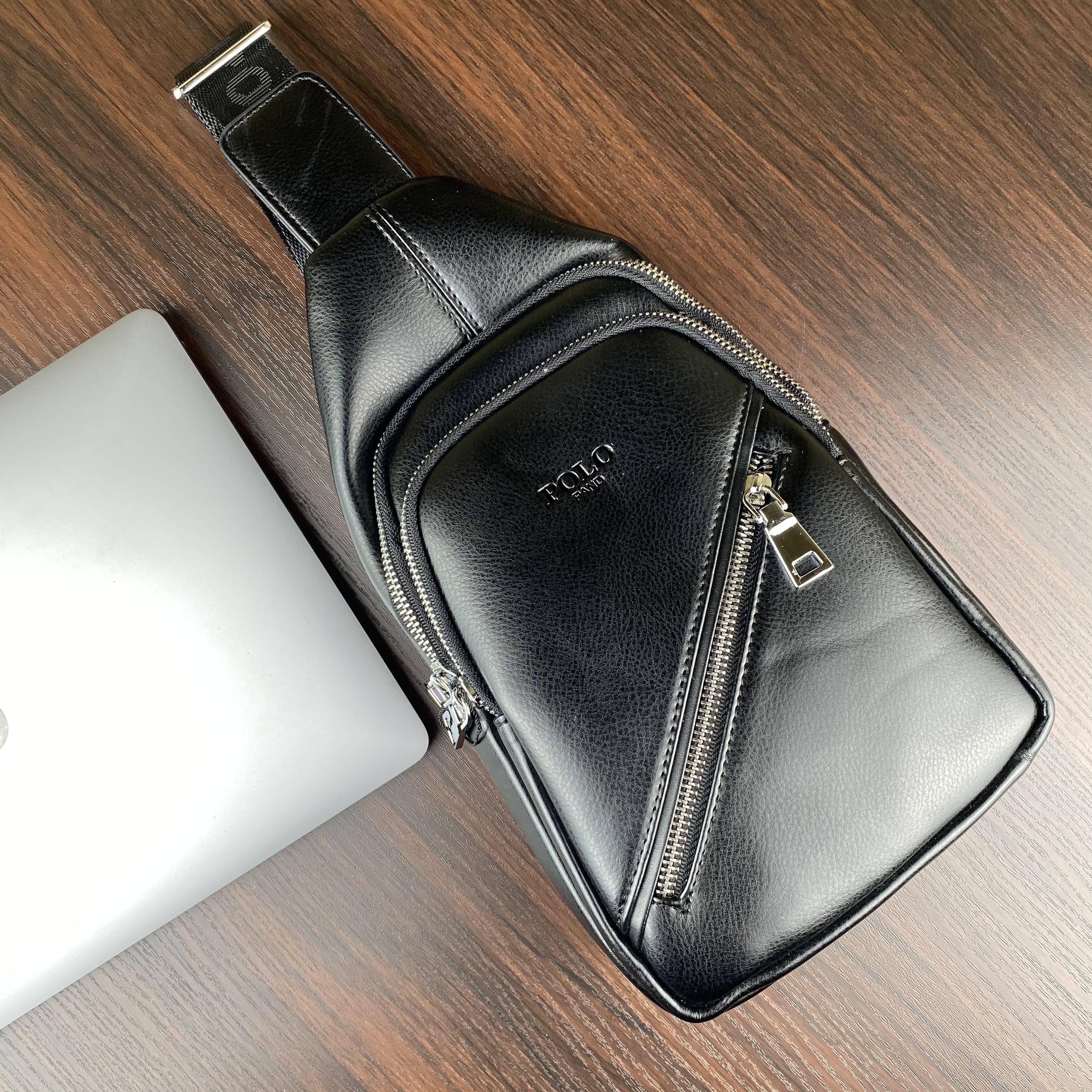 Стильная небольшая мужская сумка рюкзак с эко кожи POLO B1108 BLACK