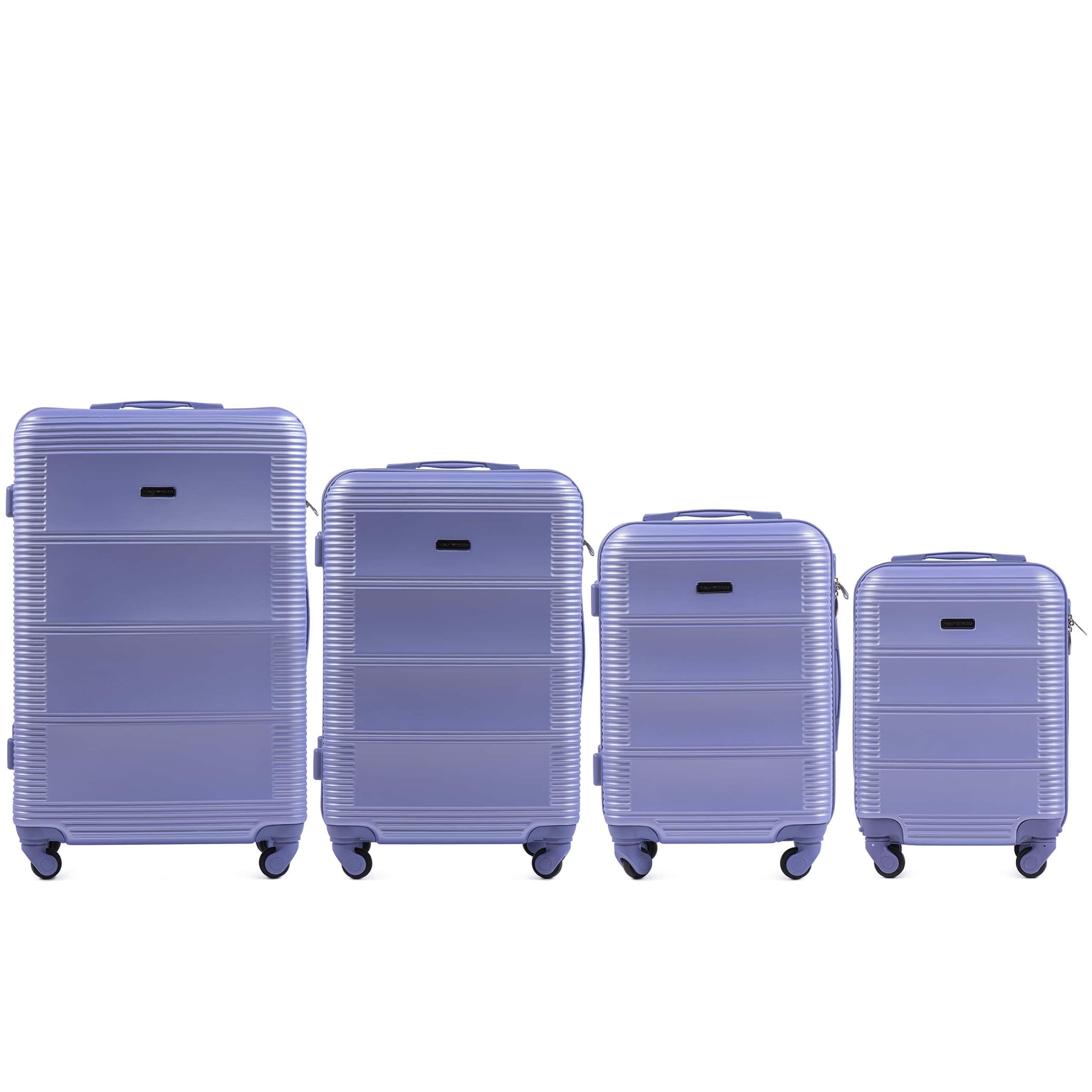 Комплект чемоданов из АБС Поликарбонат! ПОЛЬСКИЕ  Ударостойкиe ! 203 SET LIGHT PURPLE