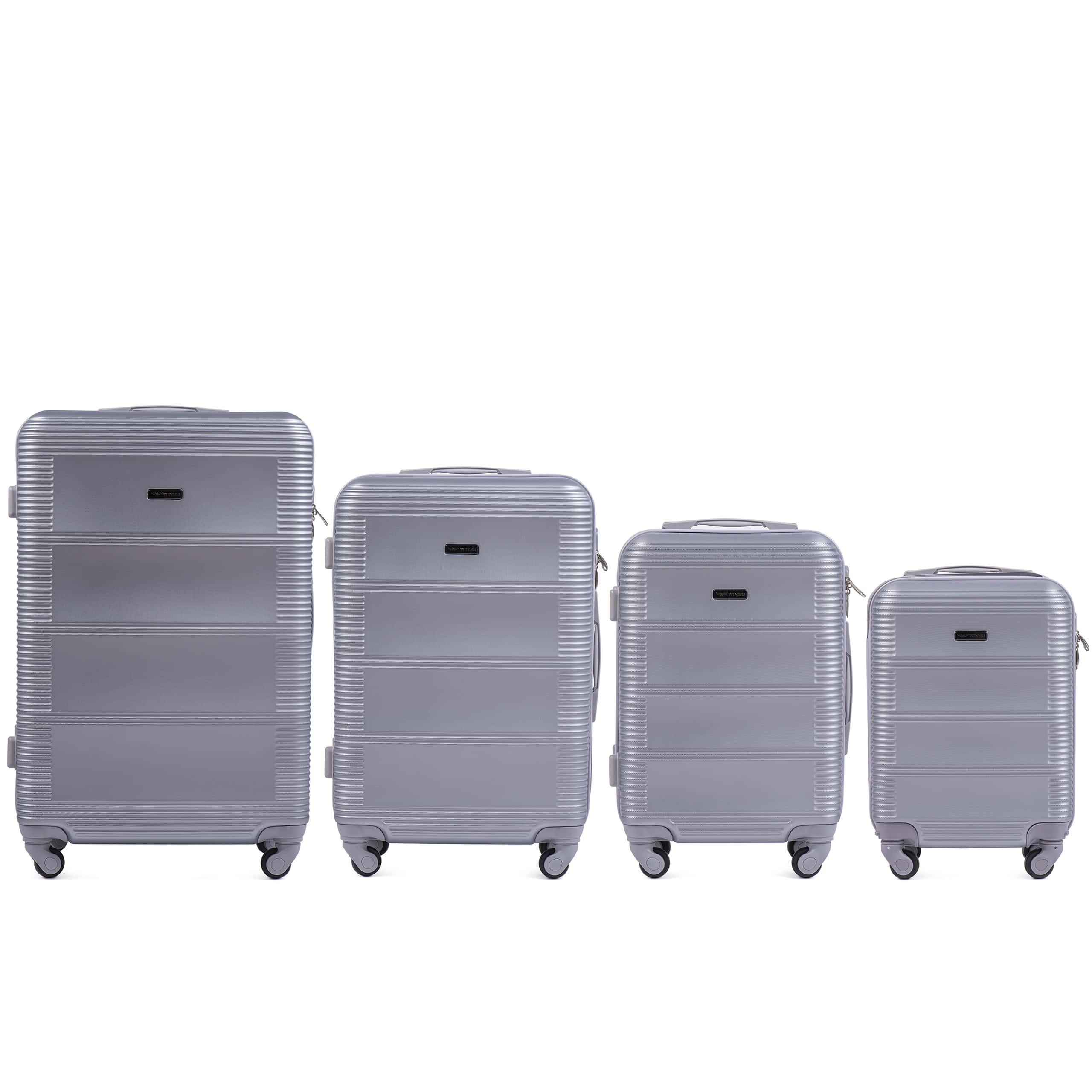Комплект чемоданов из АБС Поликарбонат! ПОЛЬСКИЕ  Ударостойкиe ! 203 SET SILVER