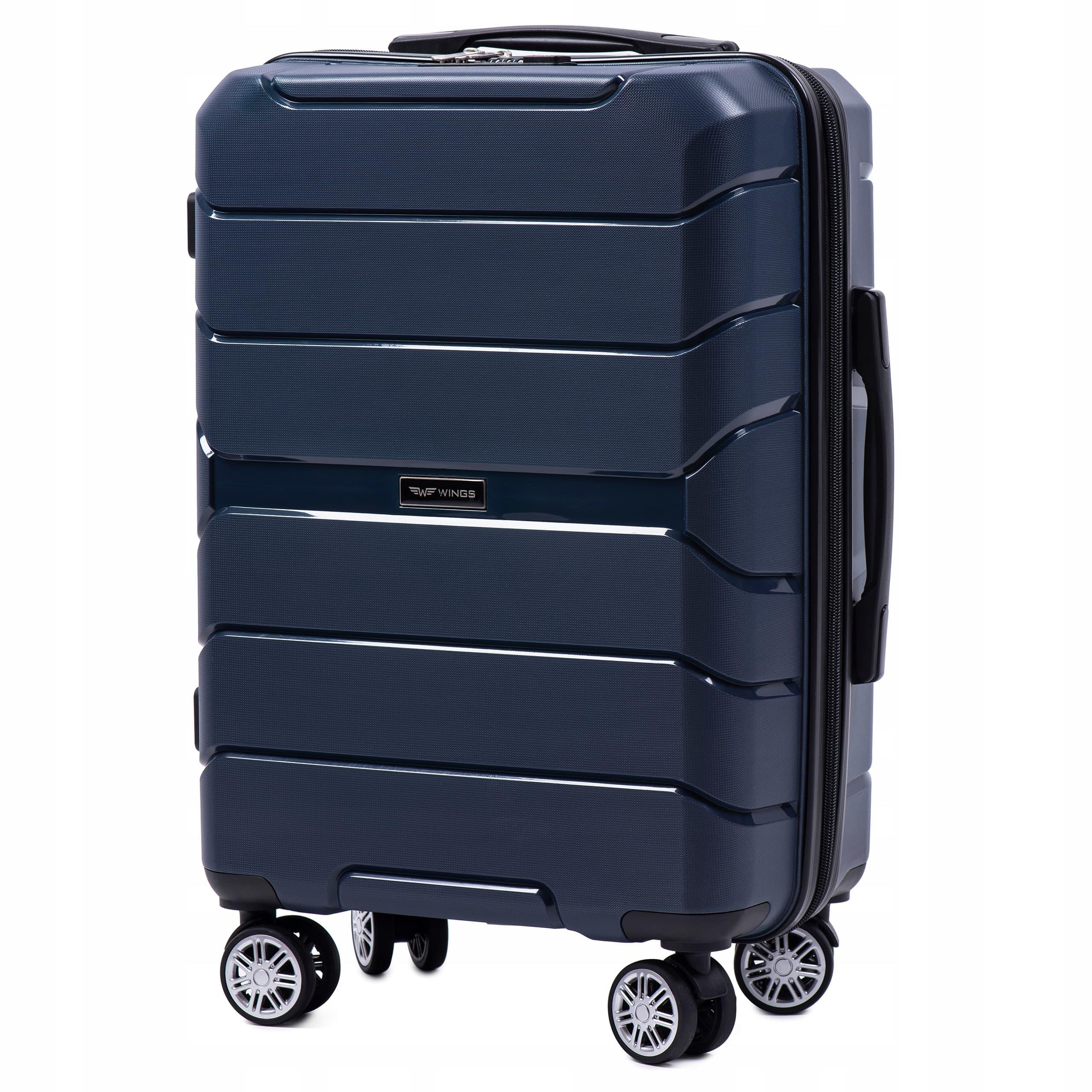 Valiza mica din polipropilena pe 4 roti WINGS PP-05 S BLUE Pt bagaj de maina,7/10 kg