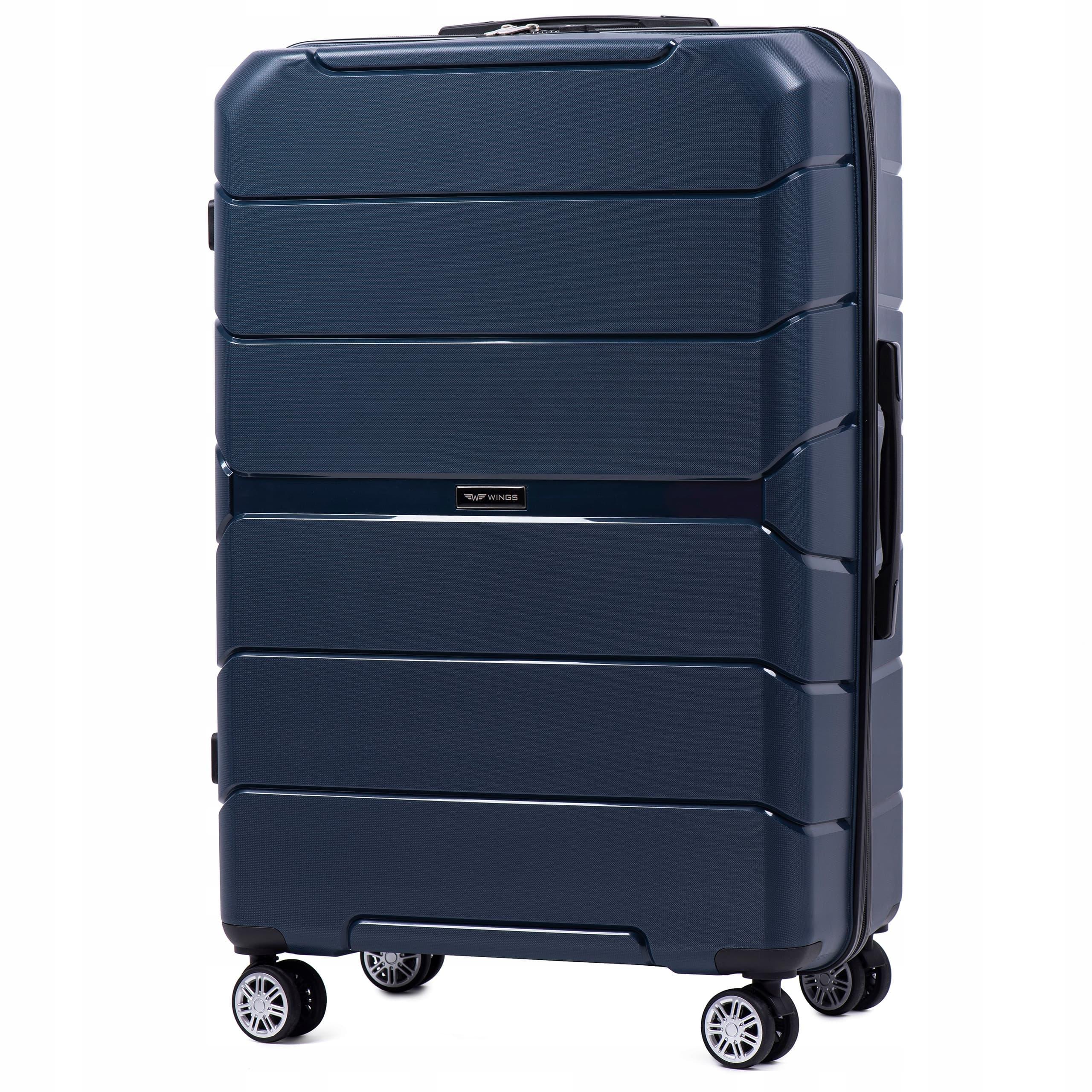 Чемодан БОЛЬШОЙ  из полипропилена на 4-х колесах  WINGS PP-05 L BLUE  Для багажа,до 23 кг
