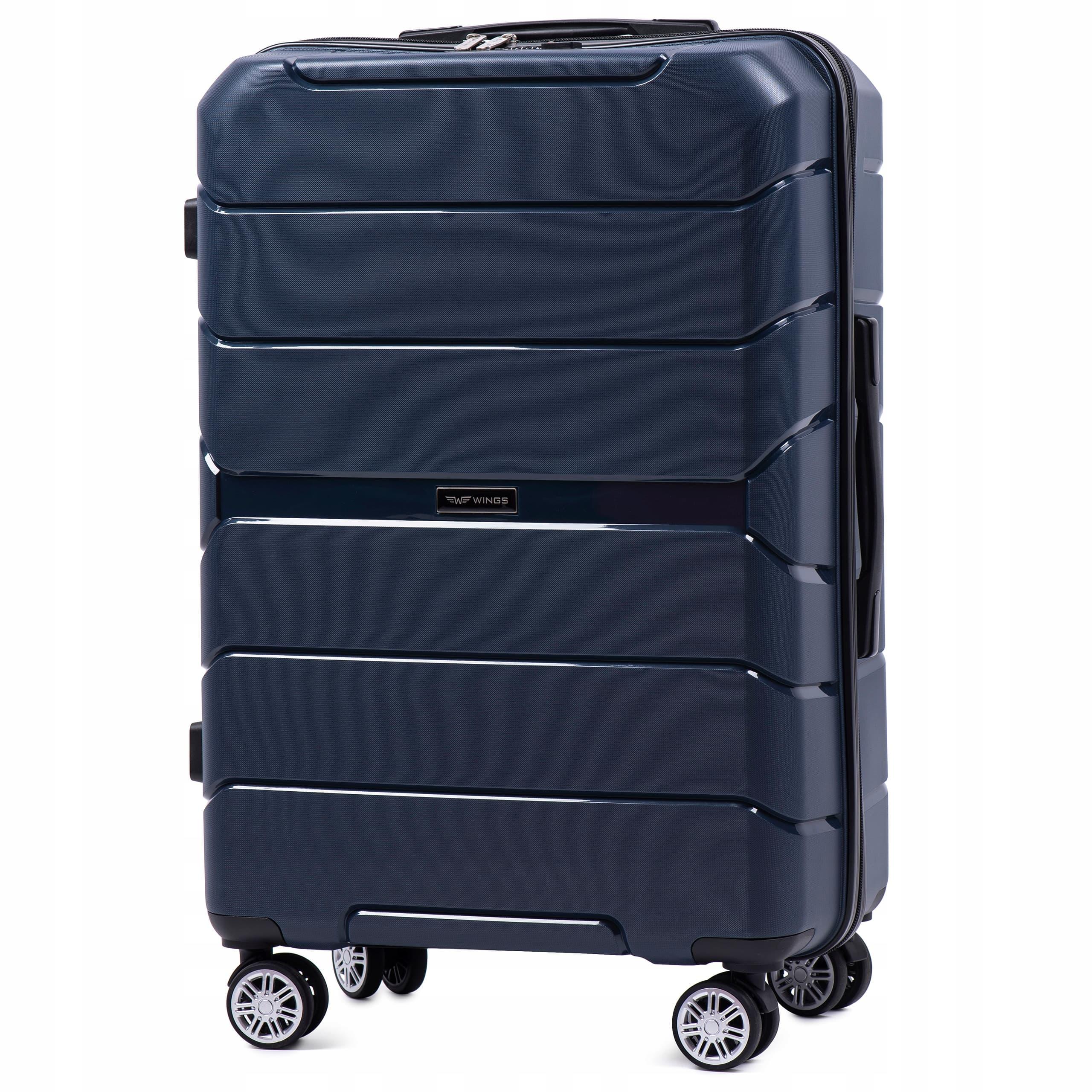 Чемодан средний из полипропилена на 4-х колесах  WINGS PP-05 M BLUE Для багажа,до 18 кг