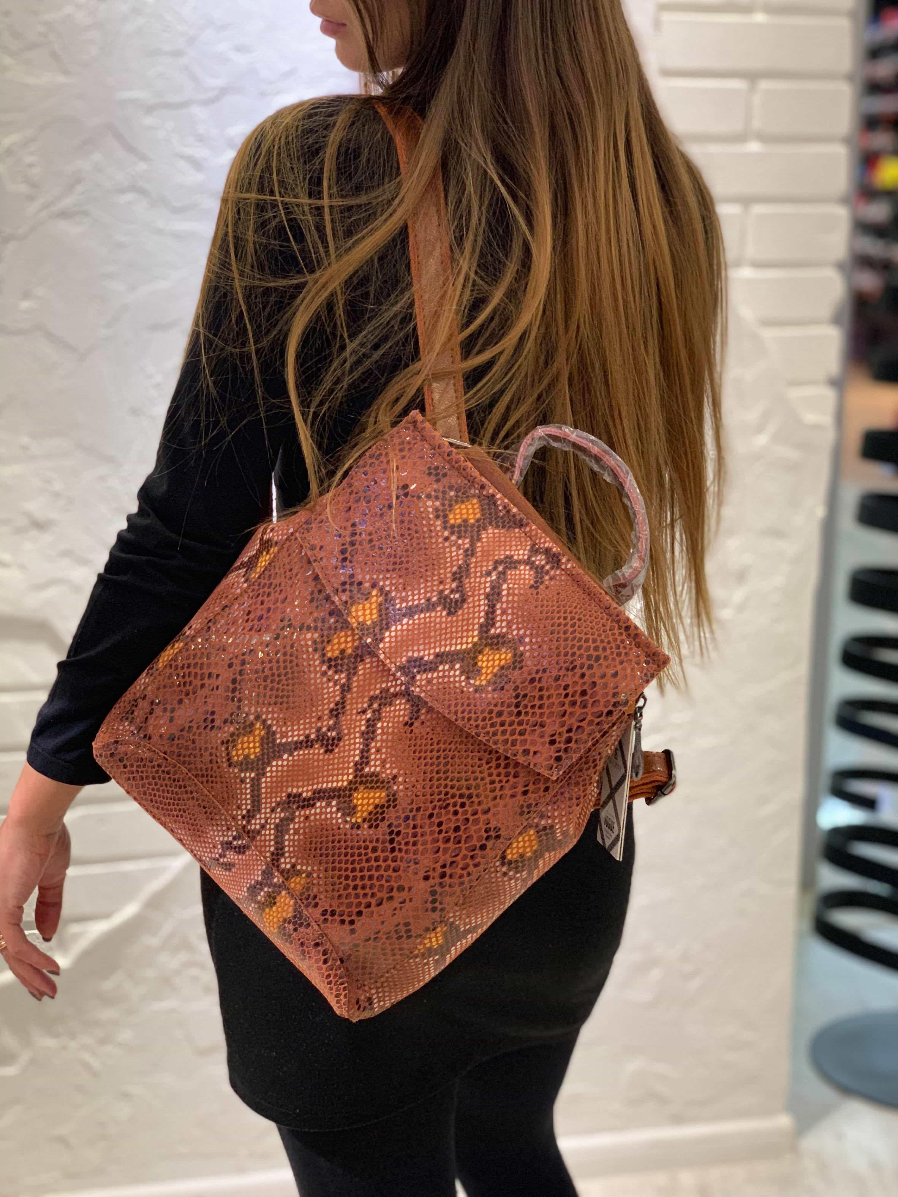 Рюкзак для женщин из натуральной кожи 7027-3 BROWN