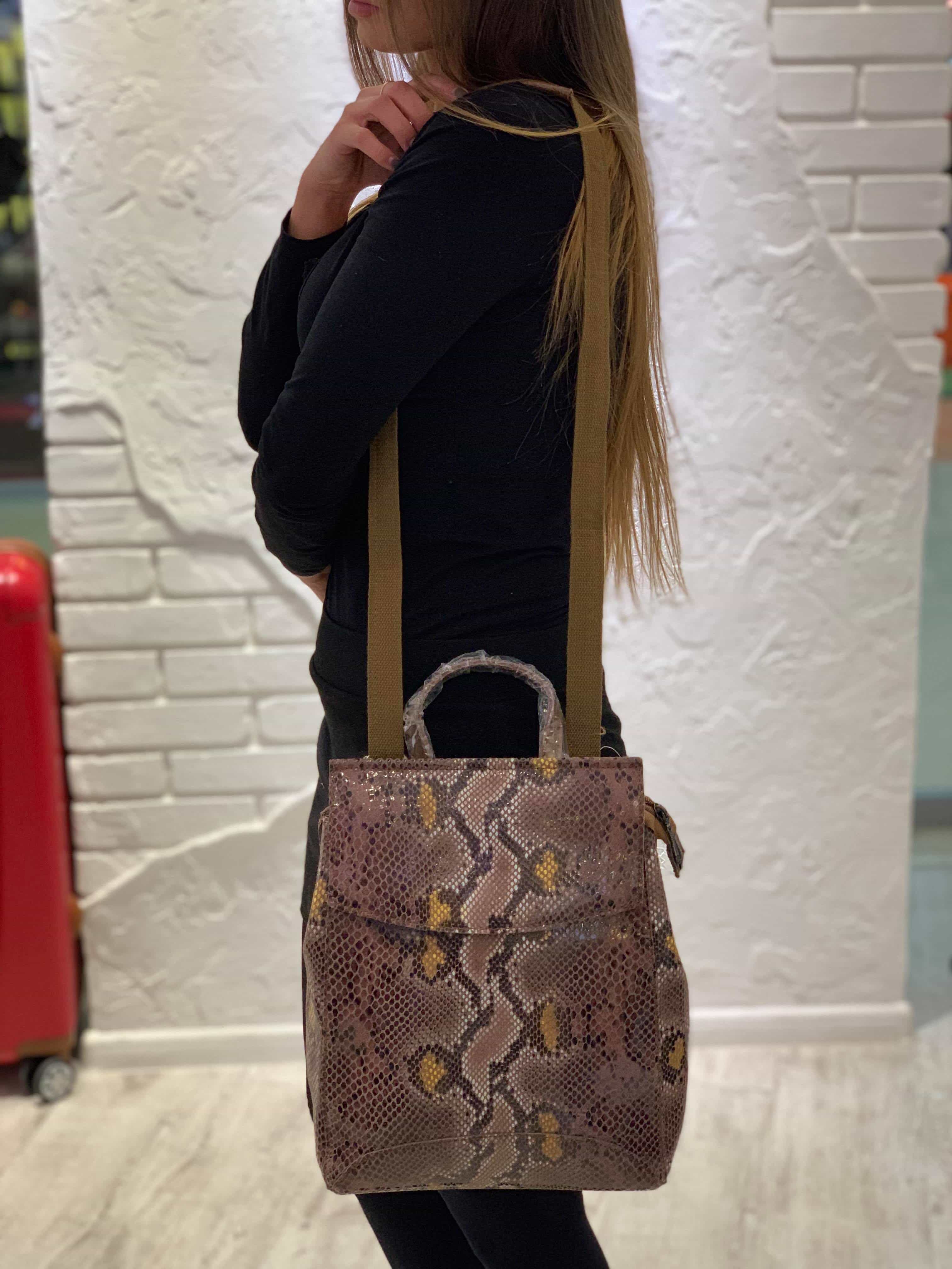 Рюкзак для женщин из натуральной кожи 7027-3 KHAKI