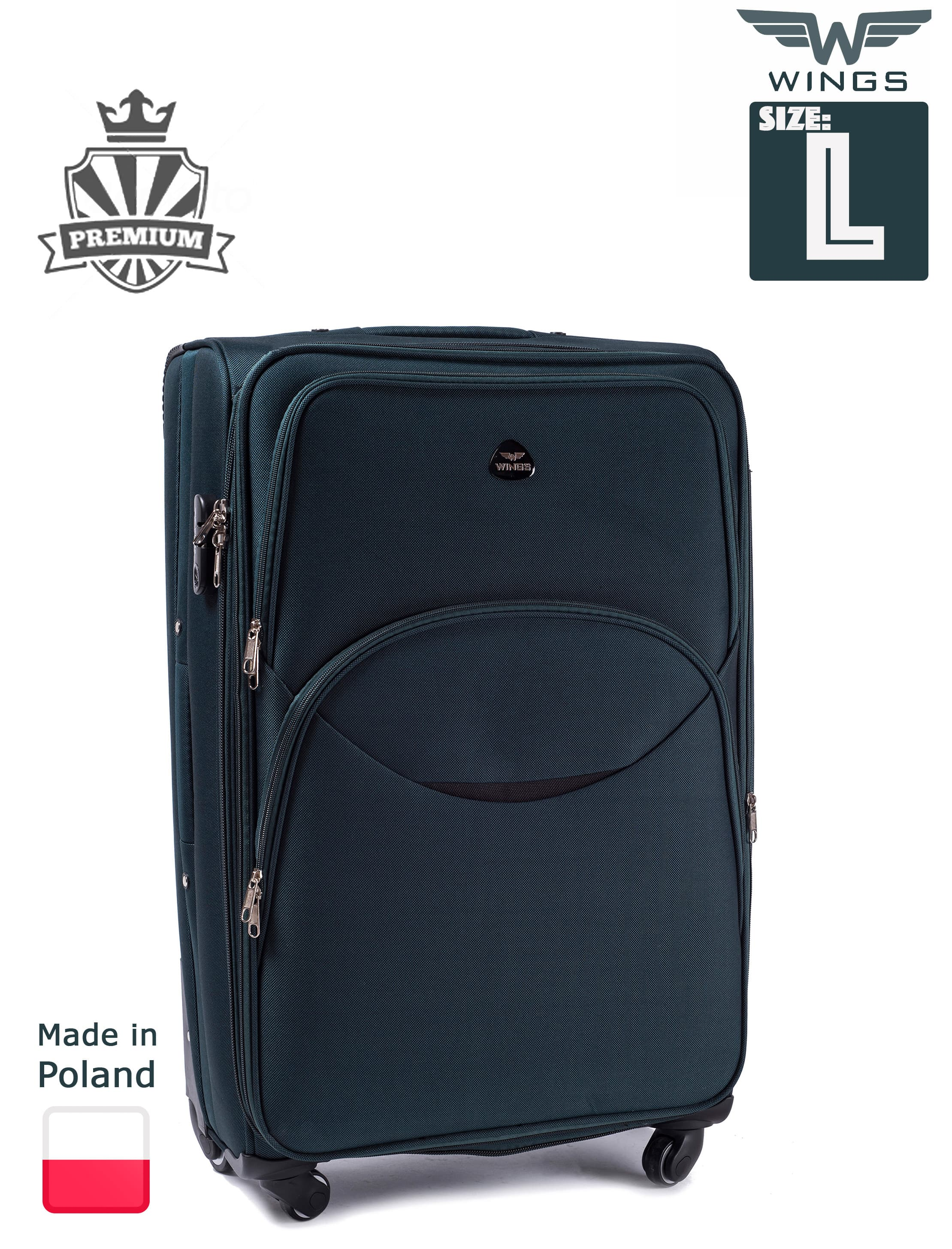 Большой Тканевый Чемодан Wings 1708-4 L Green PREMIUM на 4-х прочных колесах! Для багажа,до 23 кг