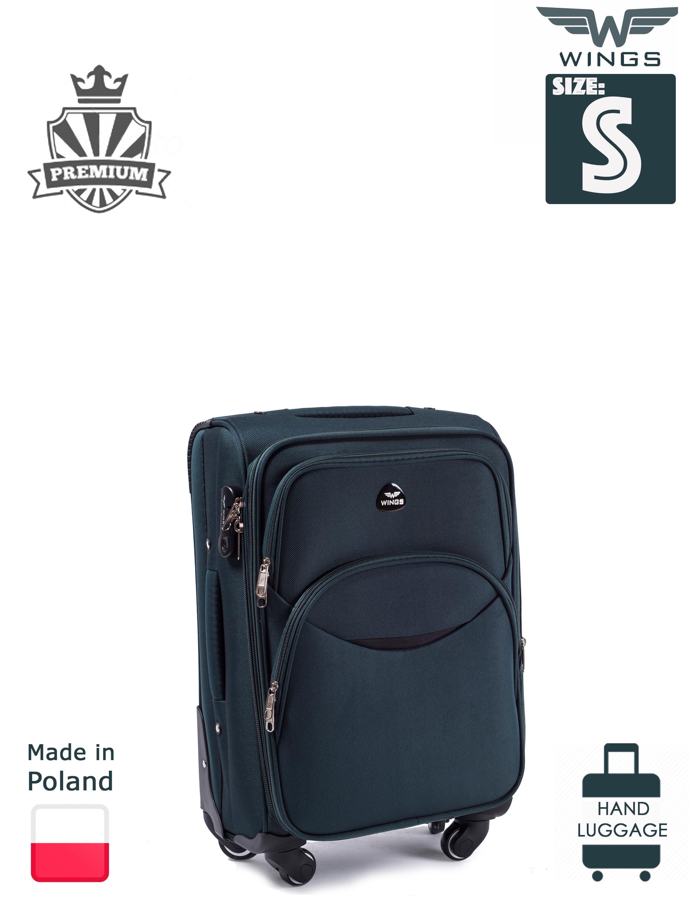 Valiza mica din textil Wings 1706-4 S Green PREMIUM pe 4 roti rezistente!Pt bagaj,pina la 10 kg