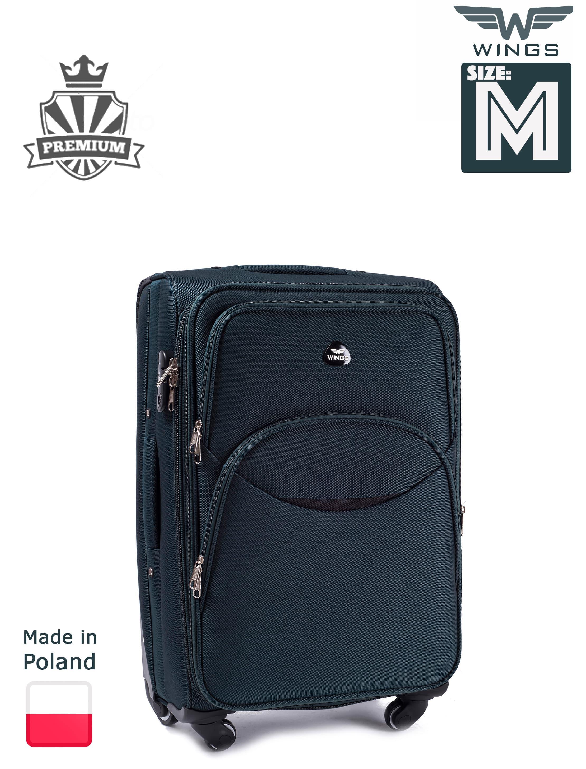 Valiza medie din textil Wings 1708-4 M Green  PREMIUM pe 4 roti rezistente!Pt bagaj,pina la 18 kg