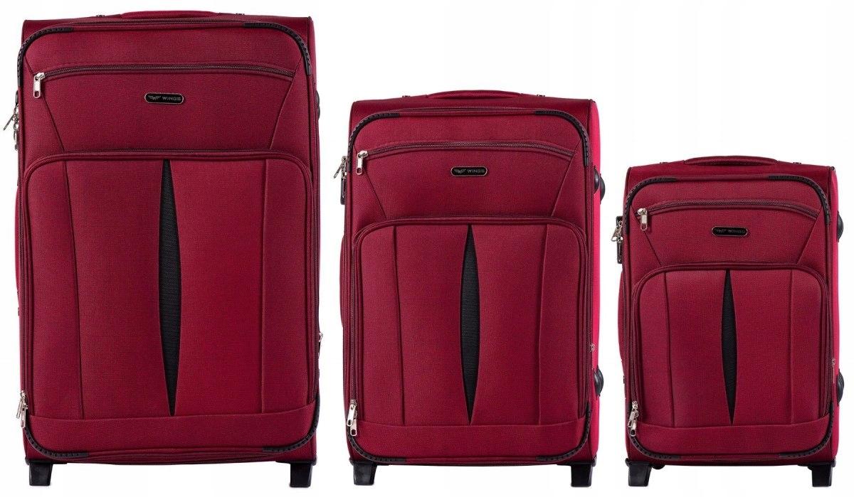 Комплект чемоданов из Ткани на 2 колесиках WINGS 1601-2 SET RED