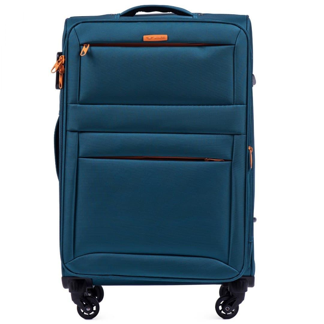 Чемодан Wings 2861 тканевый Средний  (M) на 4-х колесах Turquoise
