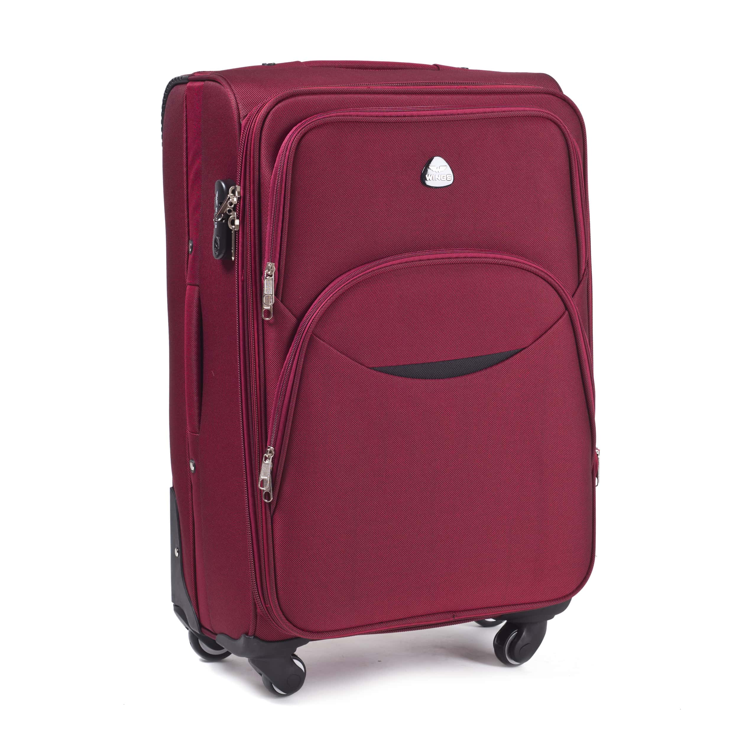 Valiza mica din textil Wings 1708-4 S Red PREMIUM pe 4 roti rezistente!Pt bagaj,pina la 10 kg