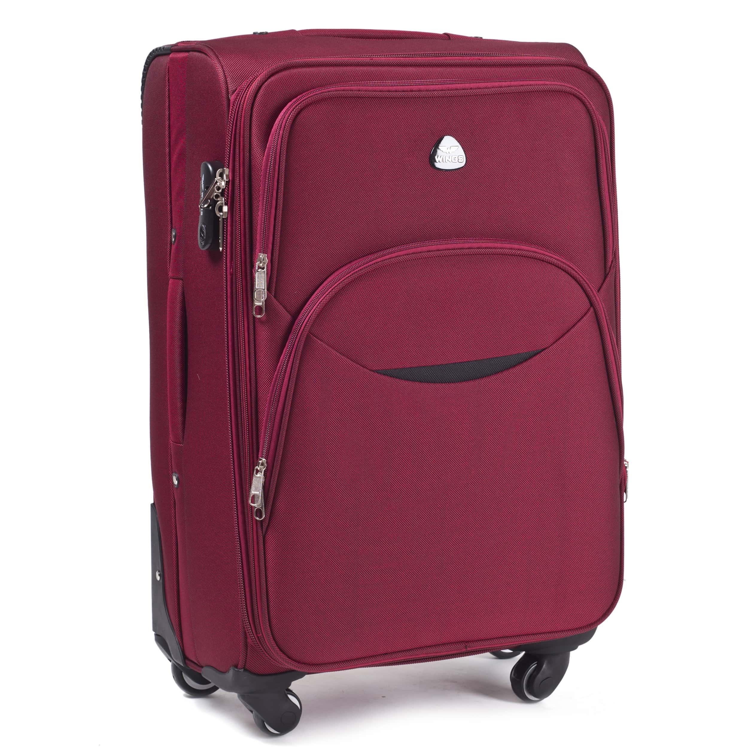 Valiza medie din textil Wings 1708-4 M Red  PREMIUM pe 4 roti rezistente! Pt bagaj,pina la 18 kg