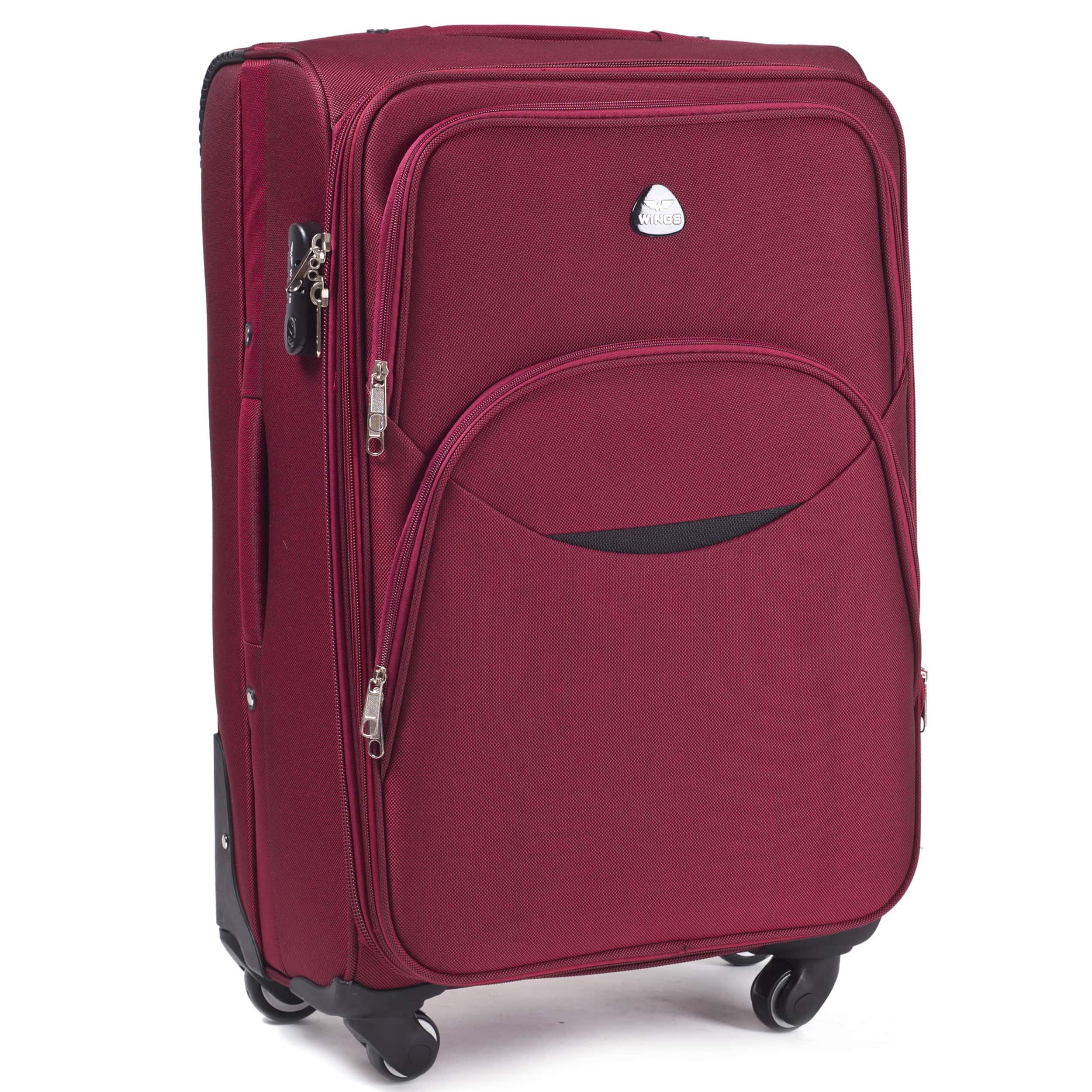 Большой Тканевый Чемодан Wings 1708-4 L D.RED PREMIUM на 4-х прочных колесах! Для багажа,до 23 кг