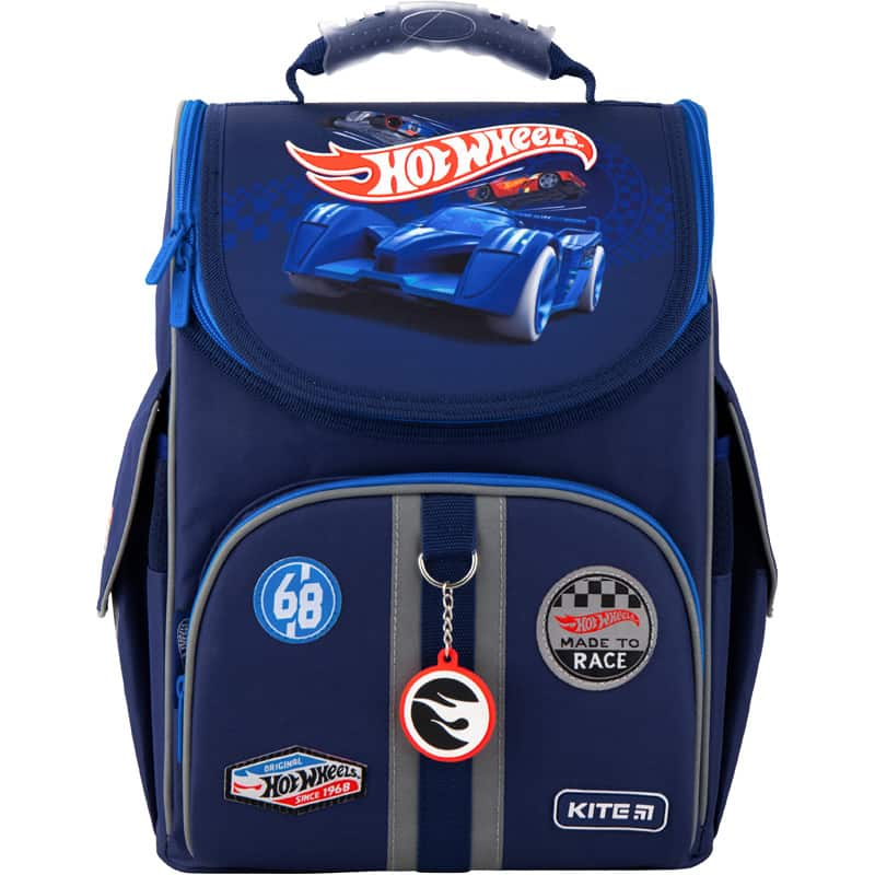 Ghiozdan ortopedic pt școală cu carcasa  Kite Education Hot Wheels HW20-501S-2