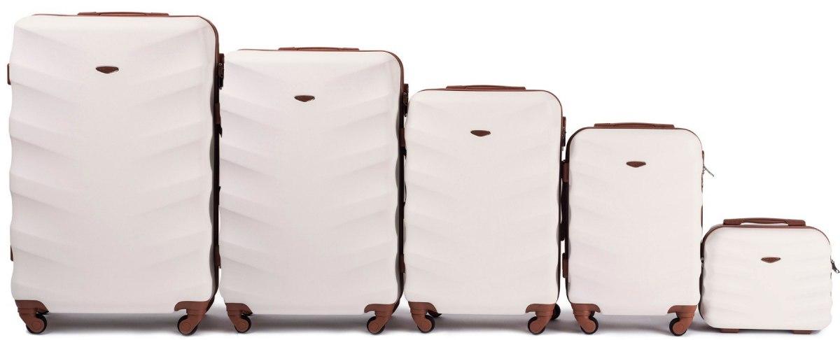 Комплект чемоданов из АБС Поликарбонат! ПОЛЬСКИЕ  Ударостойкиe ! SET WINGS 402 D.WHITE