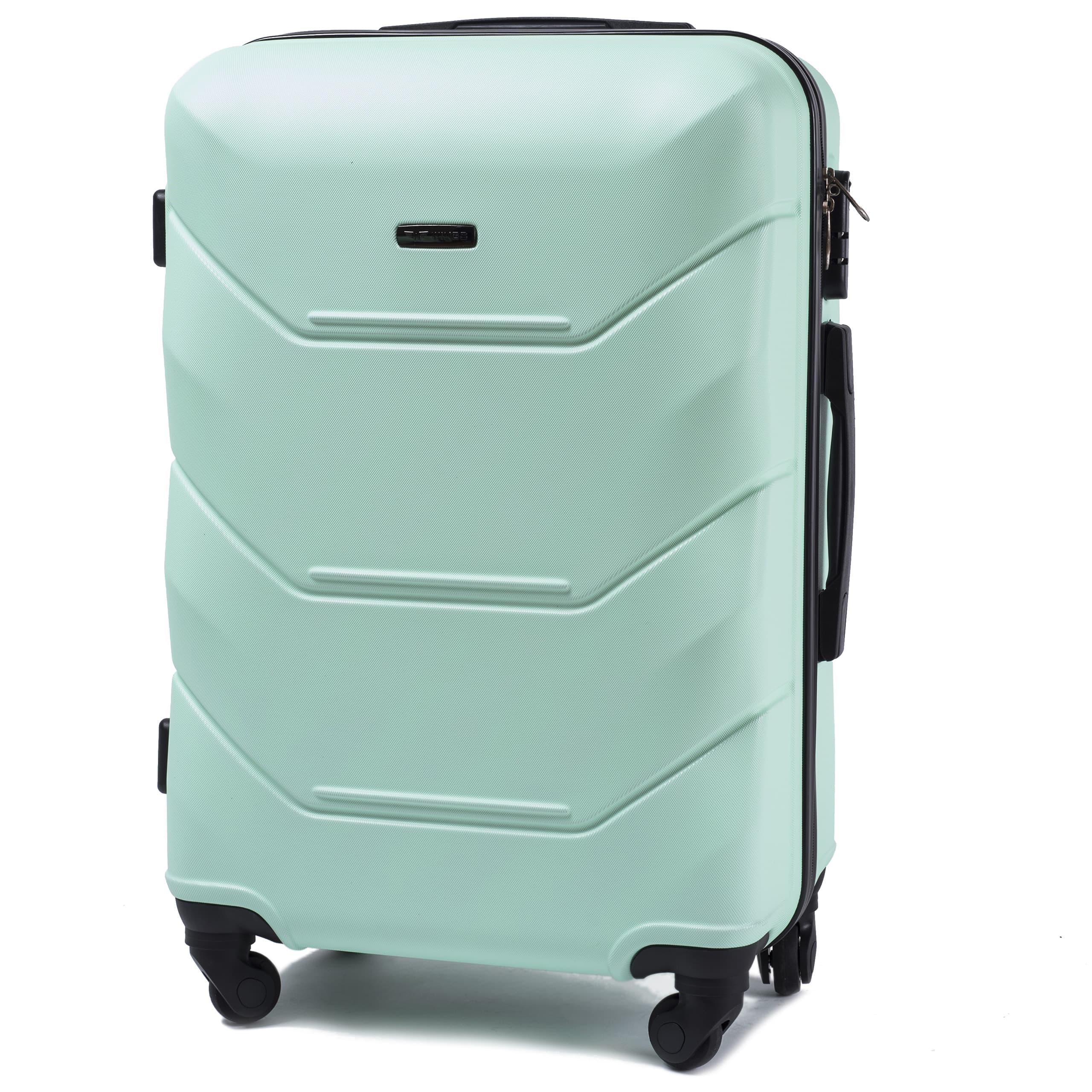 СРЕДНИЙ ЧЕМОДАН WINGS 147 M Light Green PREMIUM НА 4-Х КАУЧУКОВЫХ КОЛЕСАХ! Для багажа ,до 18 кг