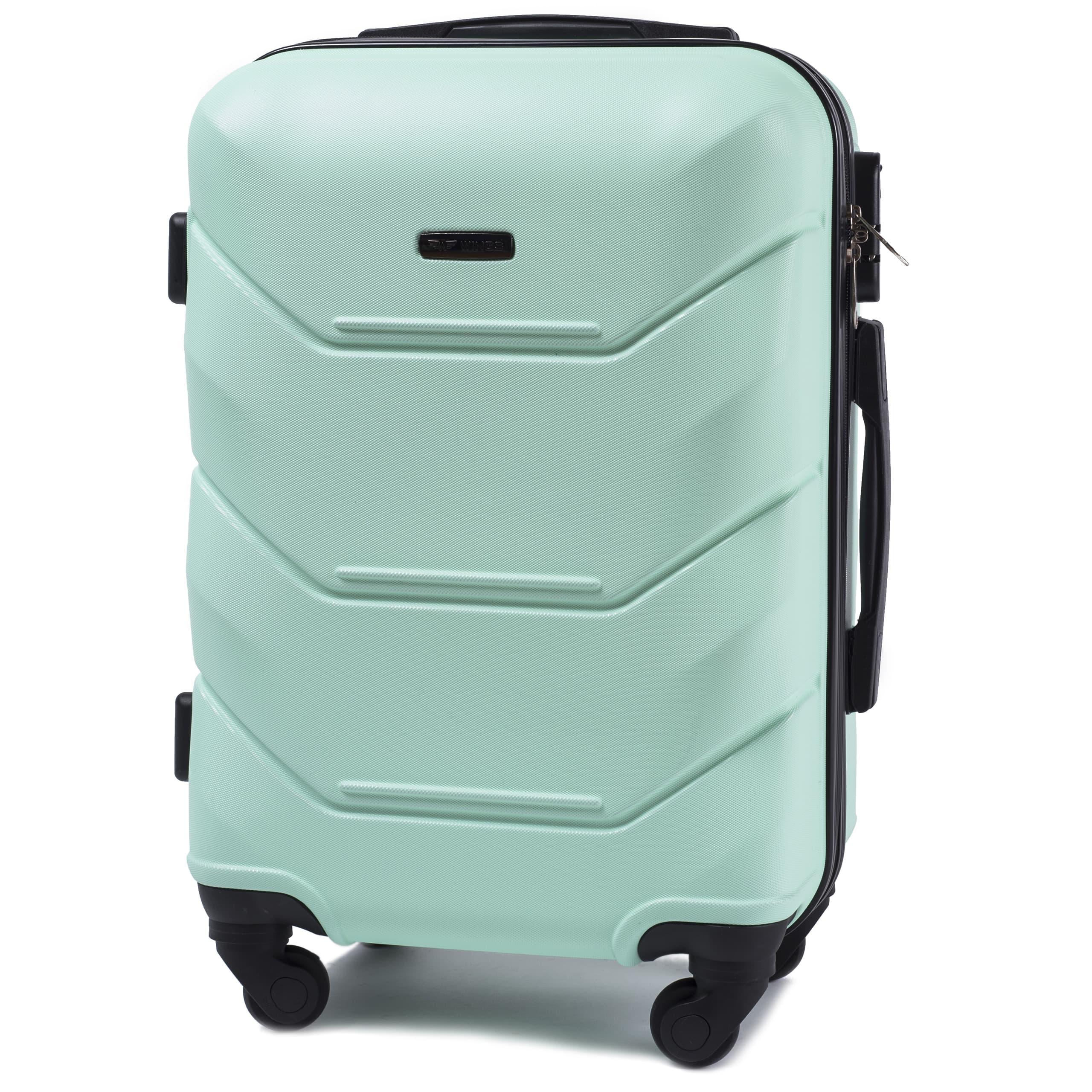 Valiza mica WINGS 147 S Light Green Premium pe 4 roti din cauciuc!Pt bagaj,pina la 7/10 kg