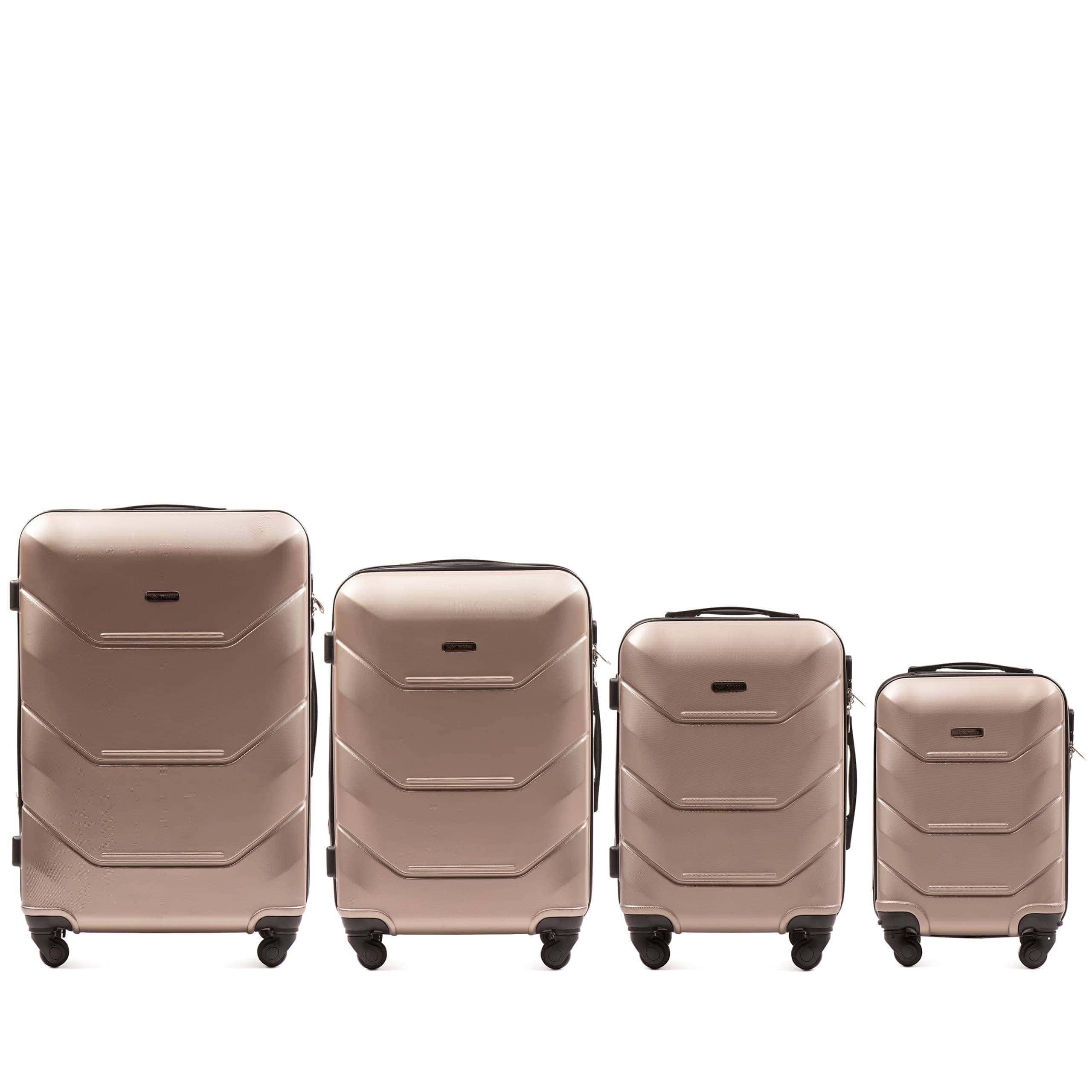 Комплект чемоданов из АБС Поликарбонат! ПОЛЬСКИЕ  Ударостойкиe ! 147 SET CHAMPANGE