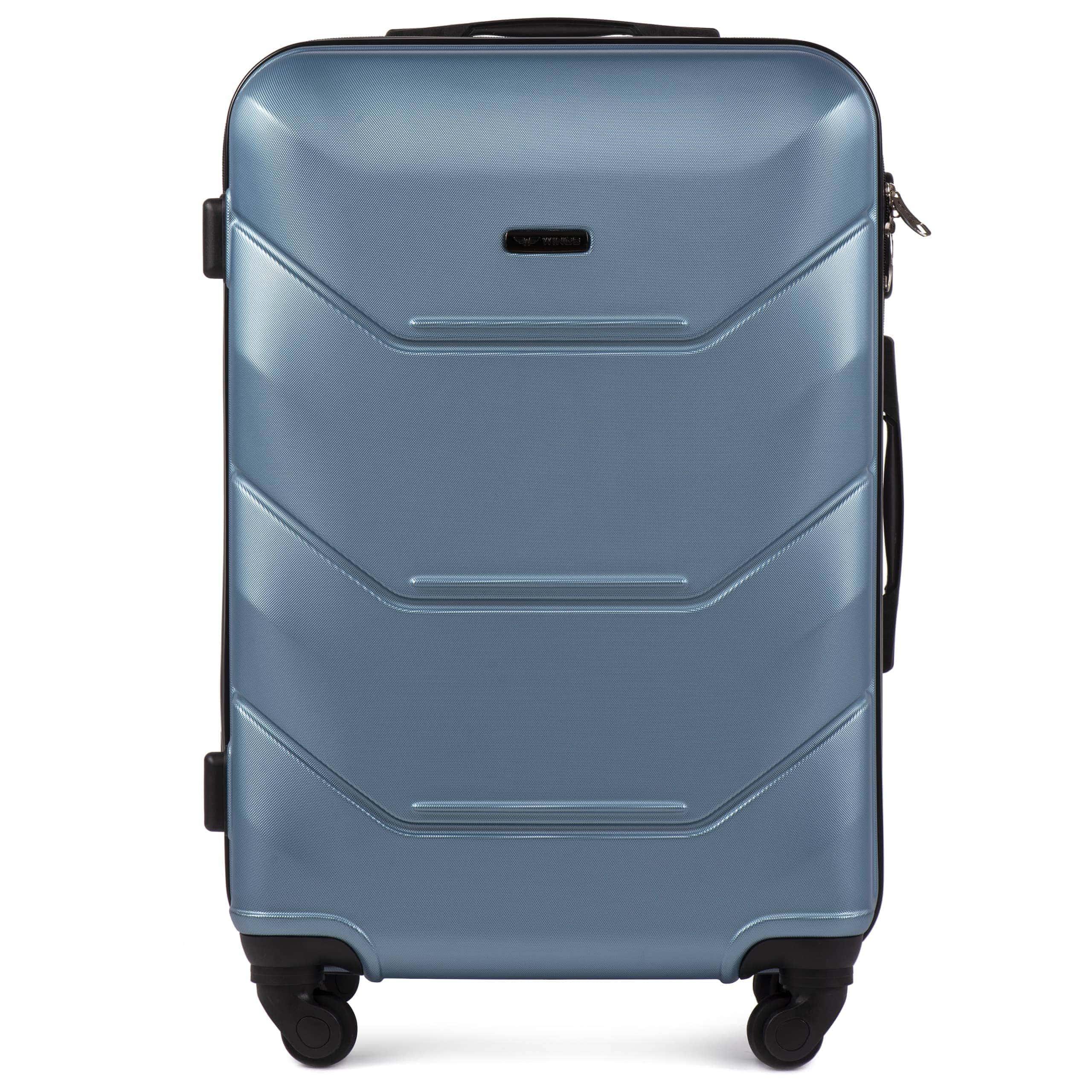 Valiza medie WINGS 147 M BLUE-SILVER Premium pe 4 roti din cauciuc!Pt bagaj,pina la 18 kg