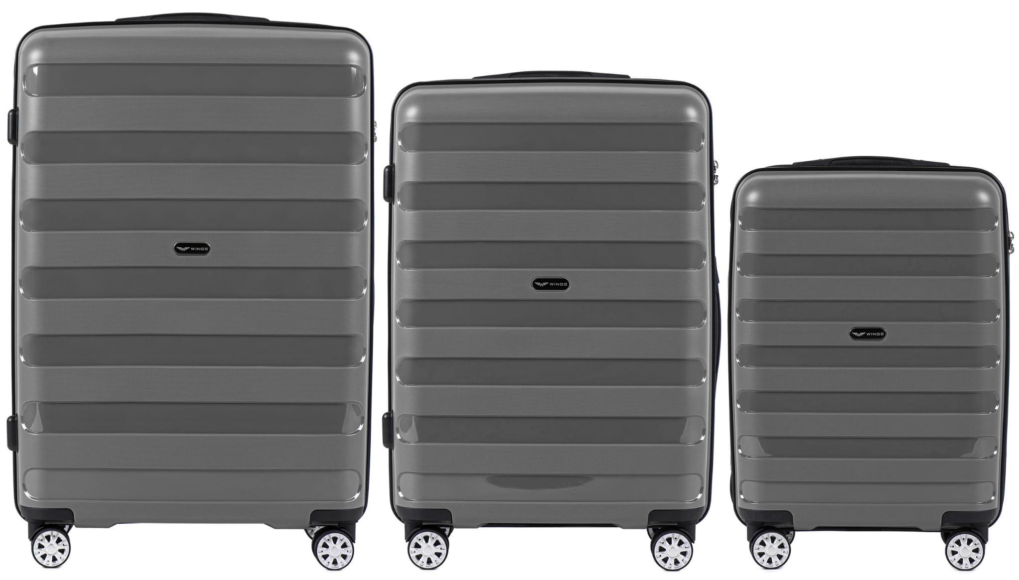 Комплект чемоданов из ПОЛИПРОПИЛЕНА! ПОЛЬСКИЕ  Ударостойкиe ! SET WINGS Prime PP-07 GREY
