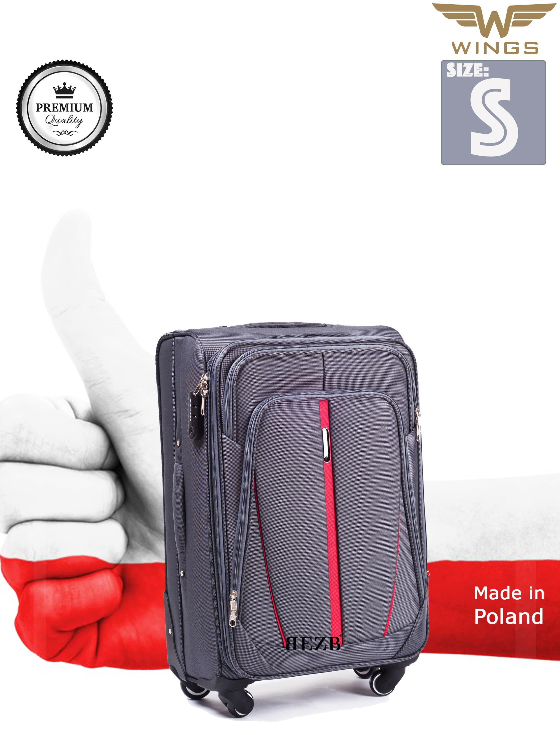 Valiza mica din textil Wings 1706-4 S Grey PREMIUM pe 4 roti rezistente!Pt bagaj,pina la 10 kg