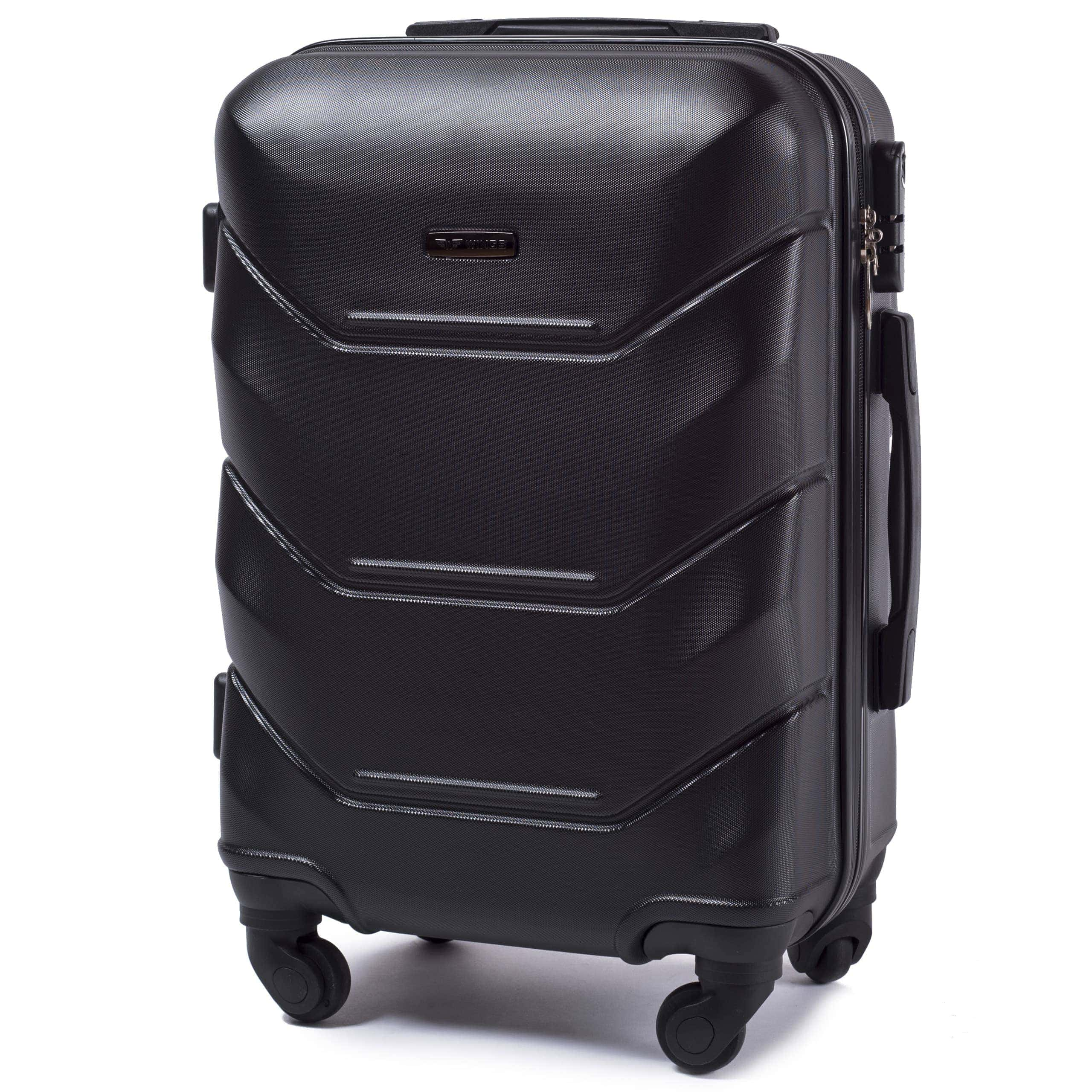 Valiza mica WINGS 147 S BLACK Premium pe 4 roti din cauciuc!Pt bagaj,pina la 7/10 kg