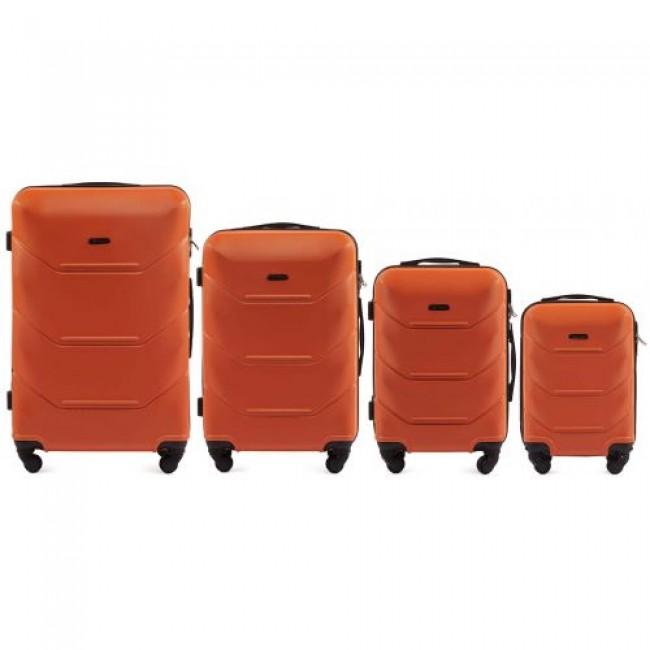 Комплект чемоданов из АБС Поликарбонат! ПОЛЬСКИЕ  Ударостойкиe !WINGS SET 147 ORANGE