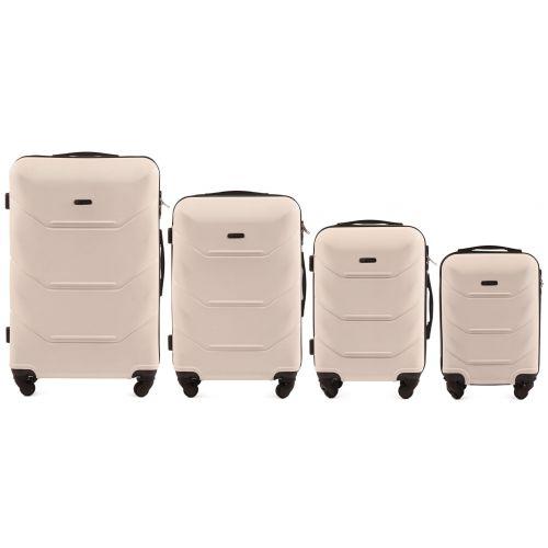 Комплект чемоданов из АБС Поликарбонат! ПОЛЬСКИЕ  Ударостойкиe WINGS 147 SET D.WHITE