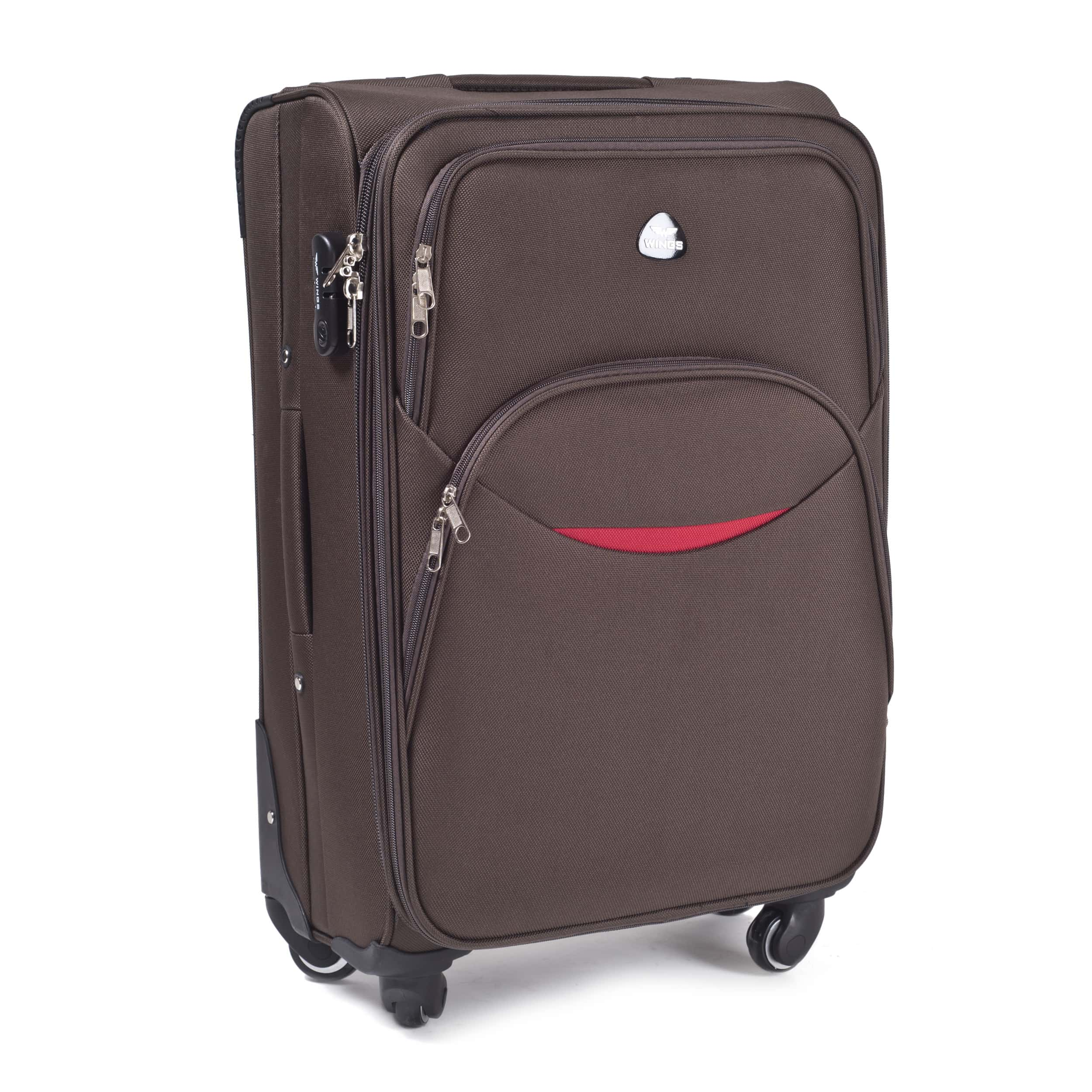 Valiza medie din textil Wings 1708-4 M Coffe  PREMIUM pe 4 roti rezistente! Pt bagaj,pina la 18 kg