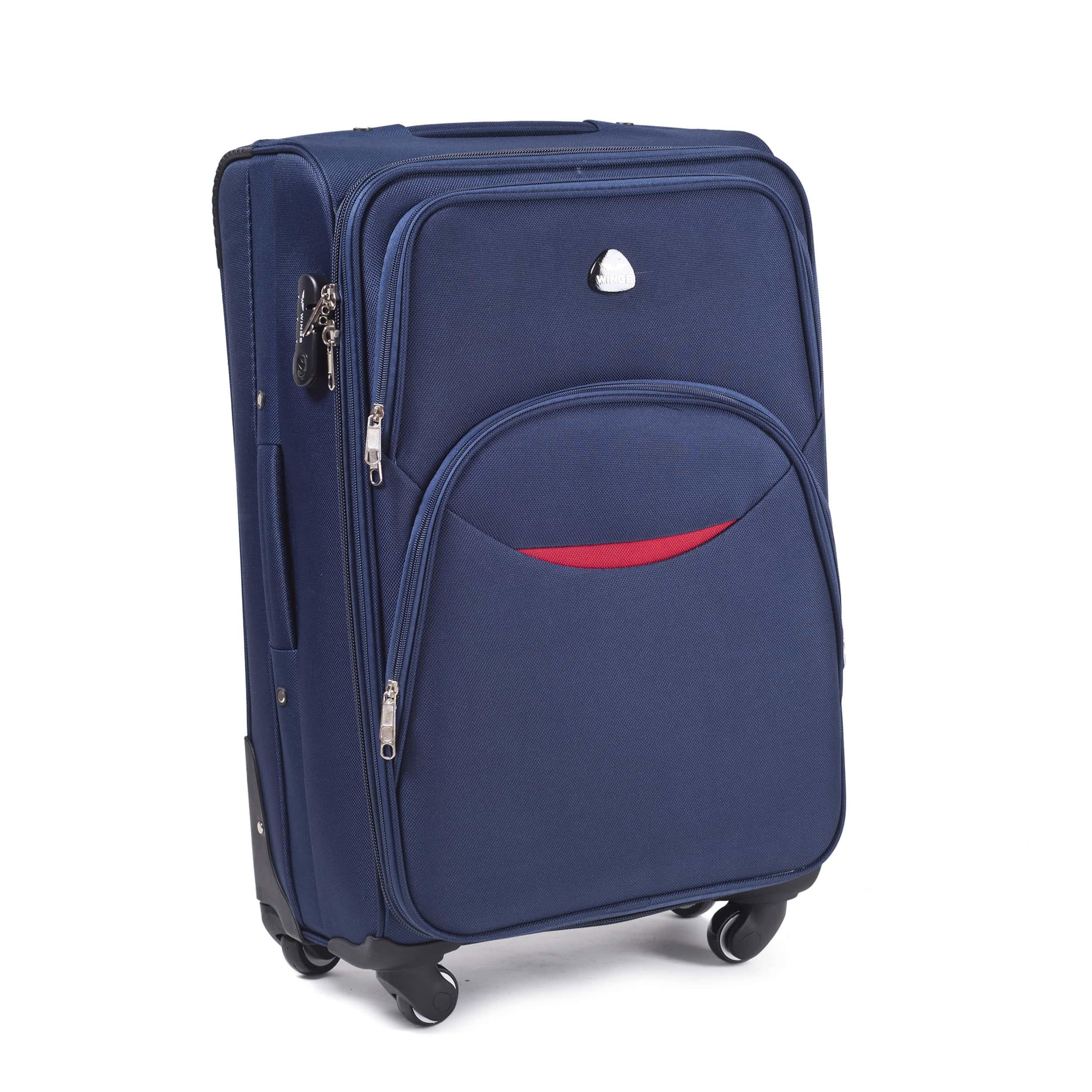 Малый Тканевый Чемодан Wings 1708-4 S Blue PREMIUM на 4-х прочных колесах! Для багажа,до 10 кг