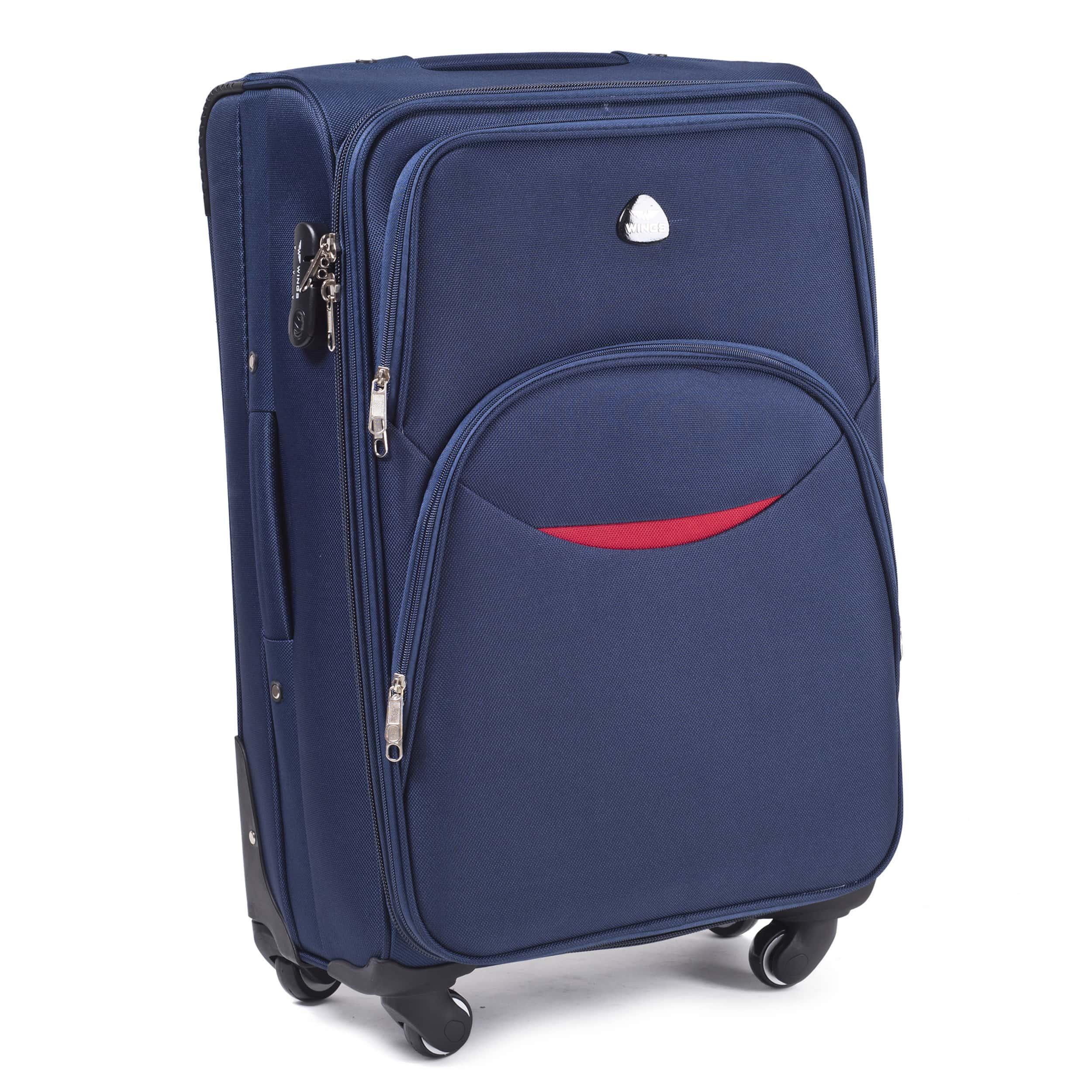 Valiza medie din textil Wings 1708-4 M Blue  PREMIUM pe 4 roti rezistente! Pt bagaj,pina la 18 kg