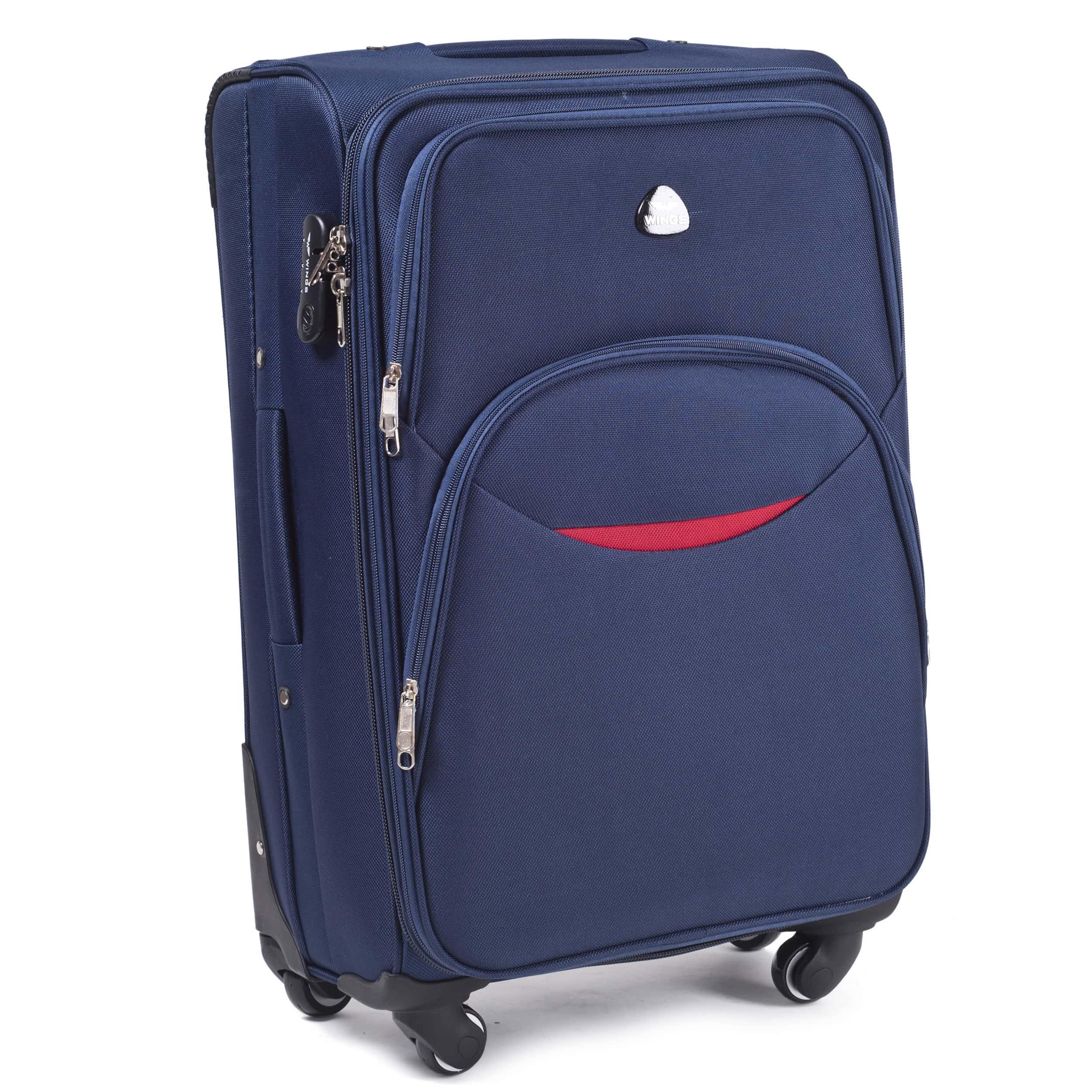 Valiza mare din textil Wings 1708-4 L Blue PREMIUM pe 4 roti rezistente! Pt bagaj,pina la 23 kg
